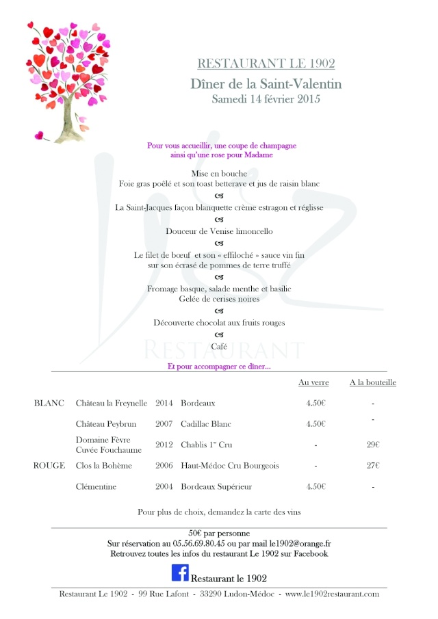 Menu St Valentin au Restaurant 1902 Menu_s10