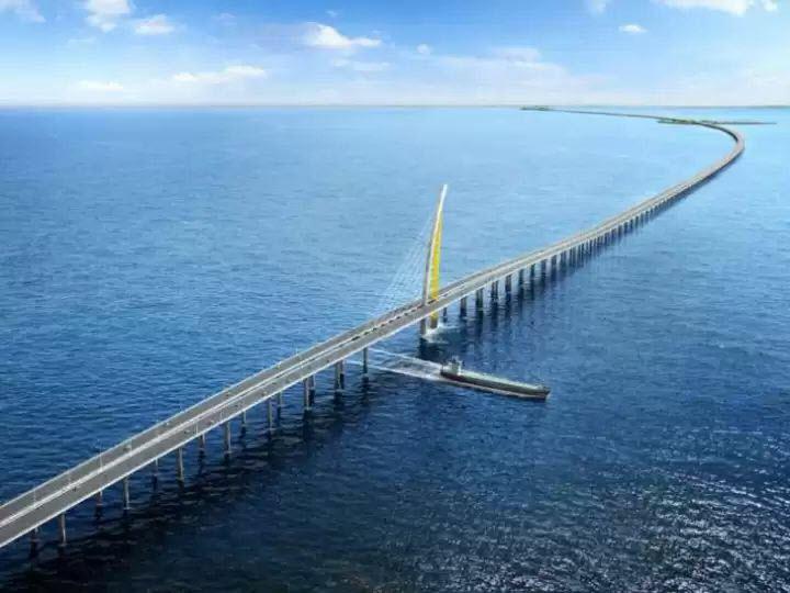 (Bientôt visible sur GE) Un pont sur la mer, de 36 km, à Koweït City. 2019-014