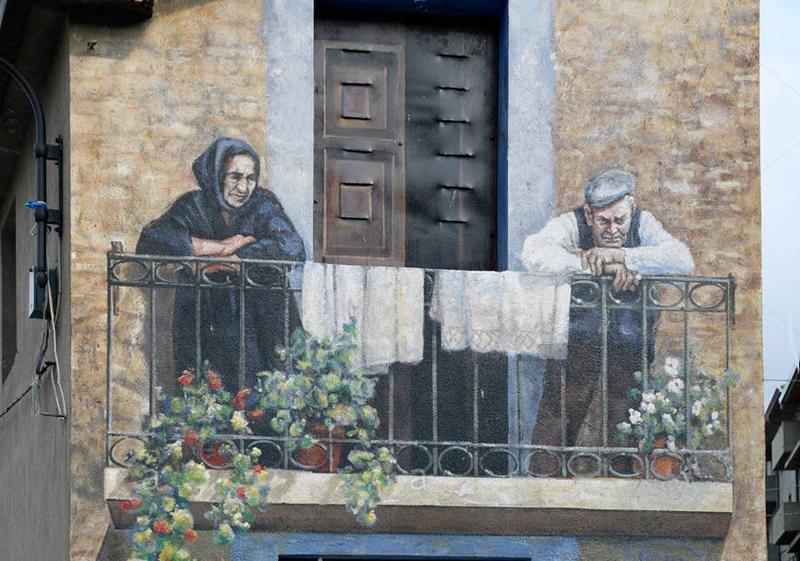 STREET VIEW : Peintures murales de l'île de Sardaigne - Italie. C9ckjp10