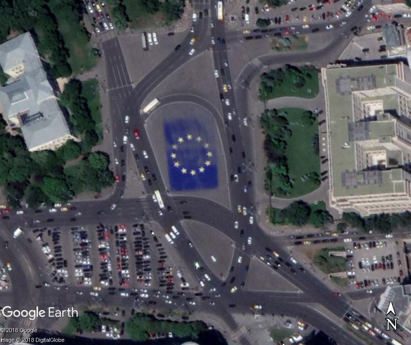 Le drapeau de l'Europe à Bucarest - Roumanie Www50