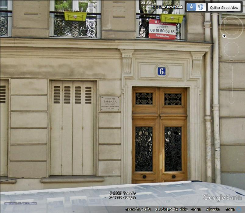 6 rue Brochant à Paris, lieu de naissance de Barbara Z25