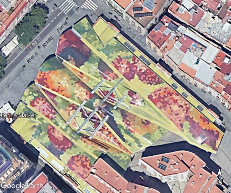 Le toit du  Marché Saint Catherine - Barcelone Zzz149