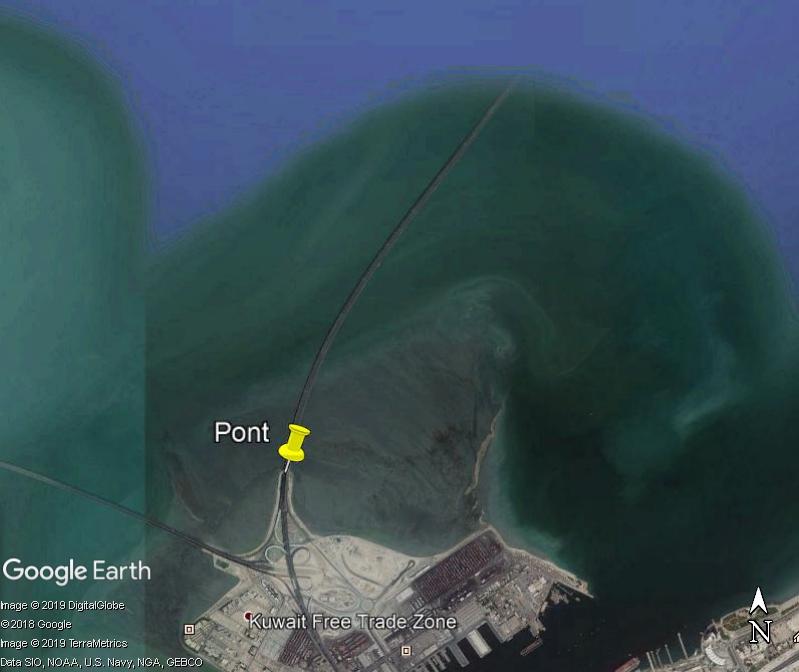 (Bientôt visible sur GE) Un pont sur la mer, de 36 km, à Koweït City. Zzzz110
