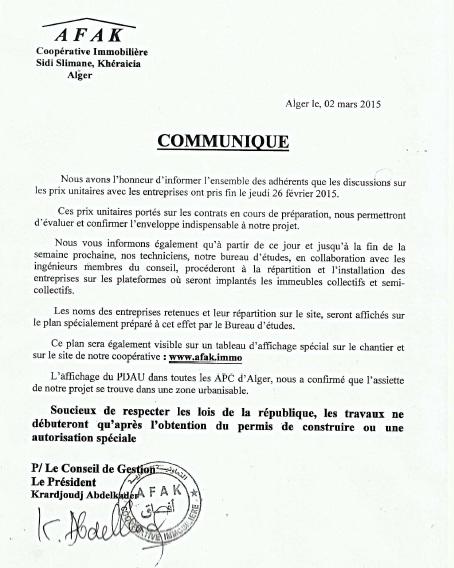 Exclusion des adhérents portés sur le quotidien El Watan en date 12/01/2015 & plainte contre le CAC Commun11