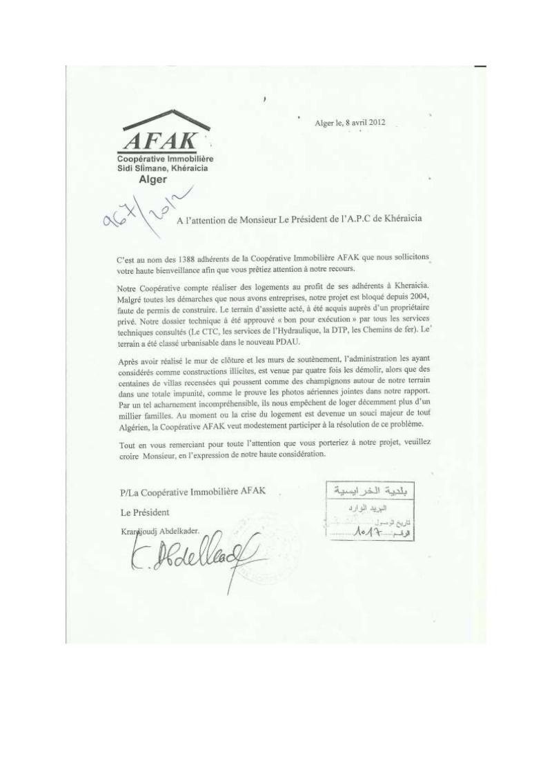 Lettre à l'attention de l'A.P.C de Khéraicia, Wali, Directeur de l'urbanisme, aux Ministres et au Président ... Lettre18