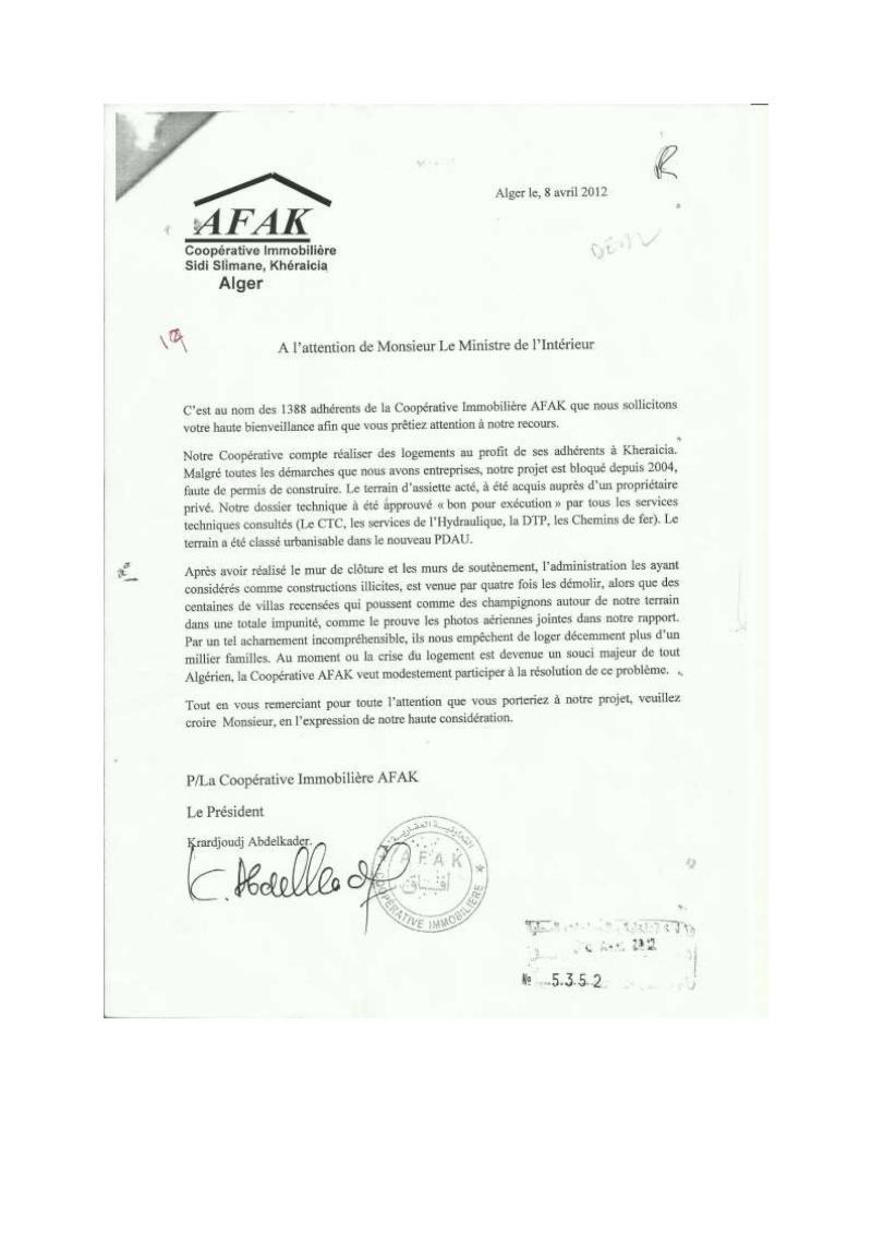 Lettre à l'attention de l'A.P.C de Khéraicia, Wali, Directeur de l'urbanisme, aux Ministres et au Président ... Lettre19