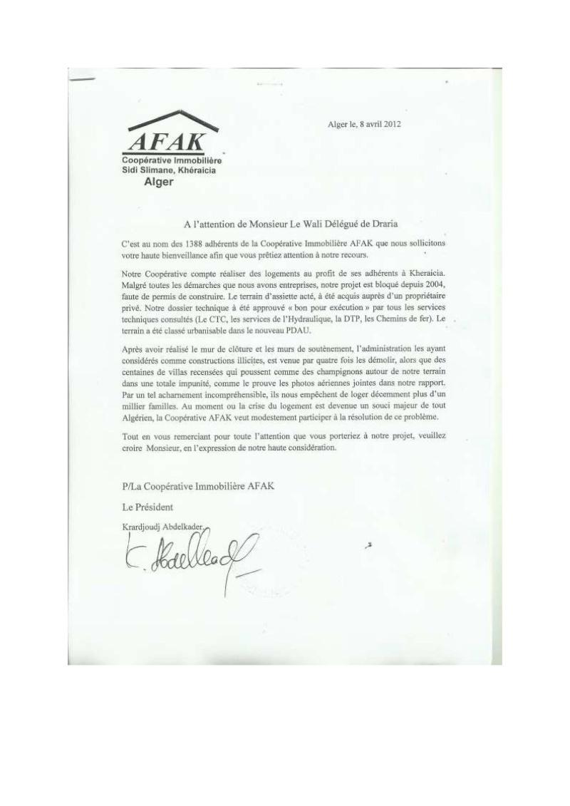 Lettre à l'attention de l'A.P.C de Khéraicia, Wali, Directeur de l'urbanisme, aux Ministres et au Président ... Lettre20