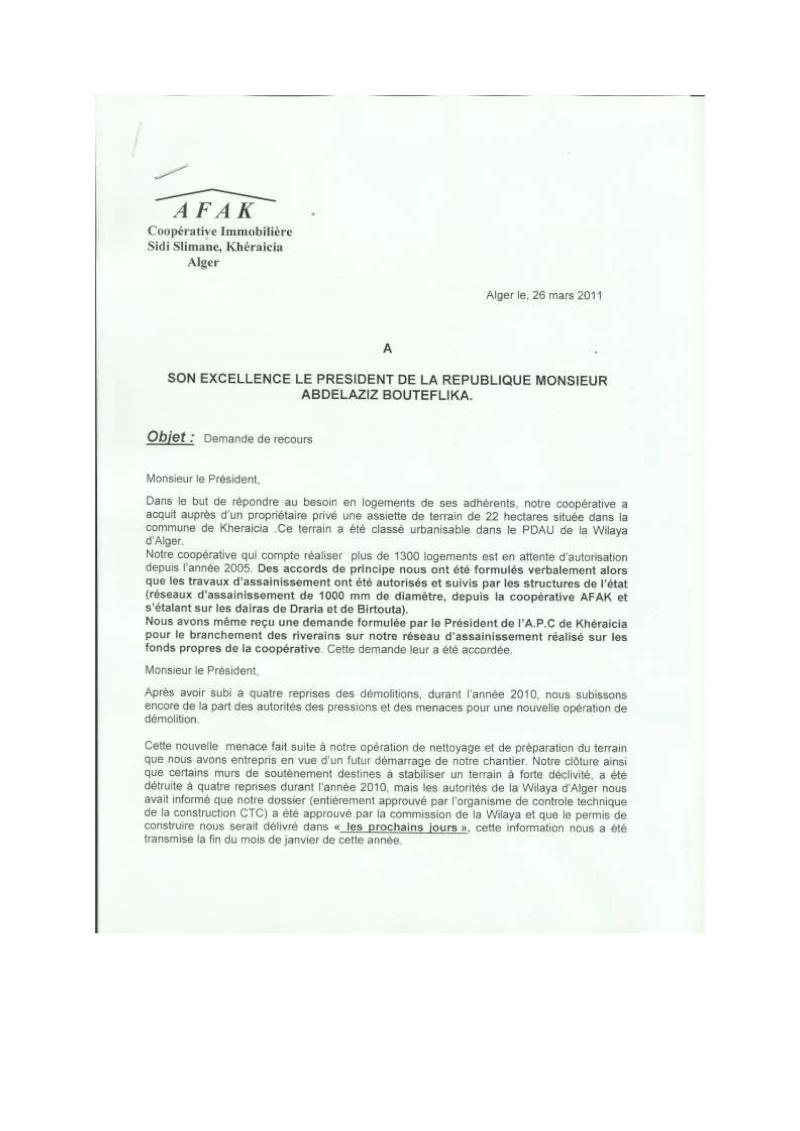 Lettre à l'attention de l'A.P.C de Khéraicia, Wali, Directeur de l'urbanisme, aux Ministres et au Président ... Lettre24