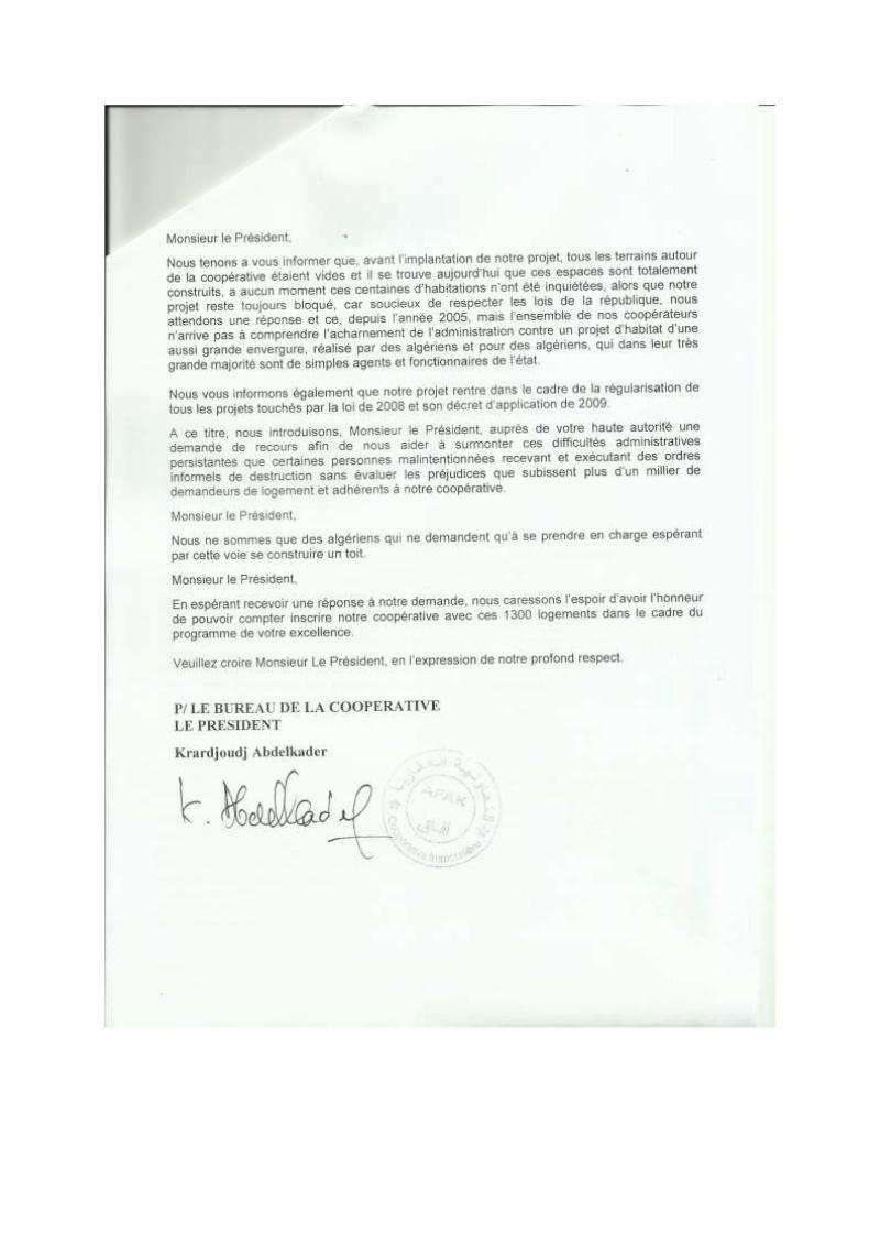 Lettre à l'attention de l'A.P.C de Khéraicia, Wali, Directeur de l'urbanisme, aux Ministres et au Président ... Lettre25