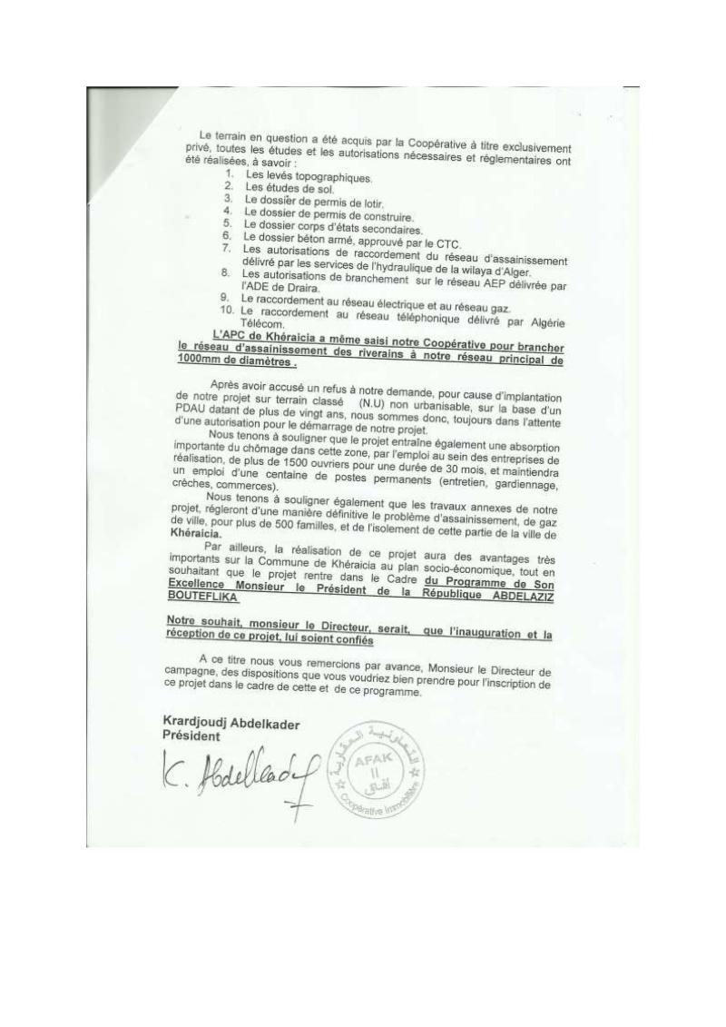 Lettre à l'attention de l'A.P.C de Khéraicia, Wali, Directeur de l'urbanisme, aux Ministres et au Président ... Lettre28