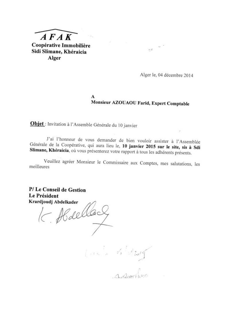 Lettre à l'attention de Mr Azouaou, Maitre Merabet du 04/12/2014 et Mr Mezerrag du 04/01/2015 Lettre29
