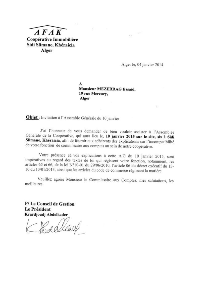 Lettre à l'attention de Mr Azouaou, Maitre Merabet du 04/12/2014 et Mr Mezerrag du 04/01/2015 Lettre30