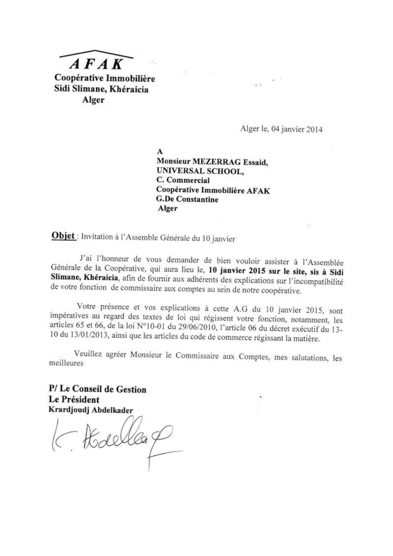 Lettre à l'attention de Mr Azouaou, Maitre Merabet du 04/12/2014 et Mr Mezerrag du 04/01/2015 Lettre32
