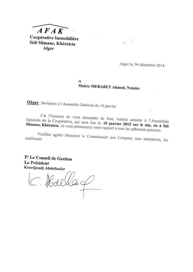 Lettre à l'attention de Mr Azouaou, Maitre Merabet du 04/12/2014 et Mr Mezerrag du 04/01/2015 Lettre33