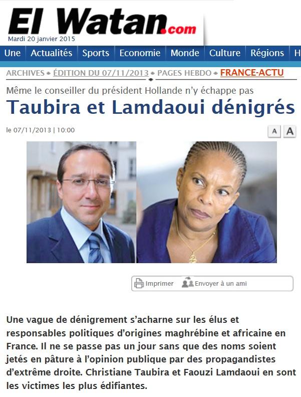 """""""Taubira et Lamdaoui dénigrés"""" El Watan (07/11/2013) El_wat10"""