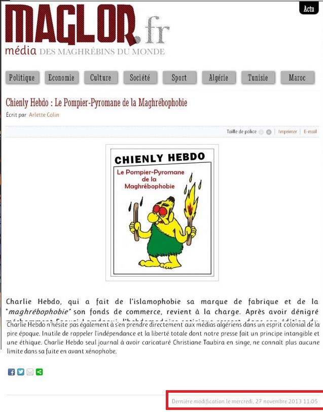 """""""Chienly Hebdo: Le Pompier-Pyromane de la Maghrébophobie"""" Maglor.fr 27/11/2013 Maglor10"""