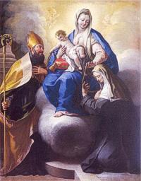 San Nicolás de Tolentino / Entrega de la correa a Santa Mónica S.XVIII Ladyof10