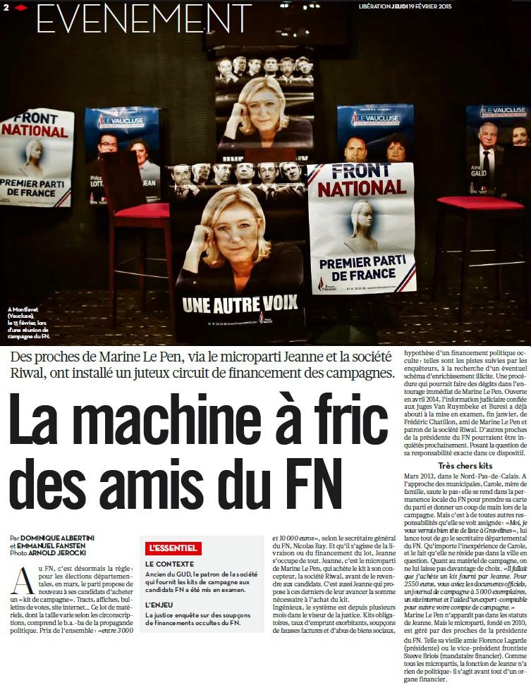 Financement du FN : la justice explore le maquis financier de plusieurs sociétés (Médiapart) + Financement du FN : bleu, blanc, louche (Libération) + Le FN tel qu'en lui-même (Samy Joshua) Bleu_b11