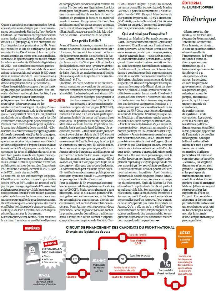 Financement du FN : la justice explore le maquis financier de plusieurs sociétés (Médiapart) + Financement du FN : bleu, blanc, louche (Libération) + Le FN tel qu'en lui-même (Samy Joshua) Bleu_b12