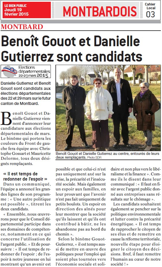 Élections départementales 2015 Montbard : Benoît Gouot et Danielle Gutierrez sont candidats + Profession de foi + Tract + Venarey-lès-Laumes : Un dialogue avec les citoyens (Bien Public) Candid10