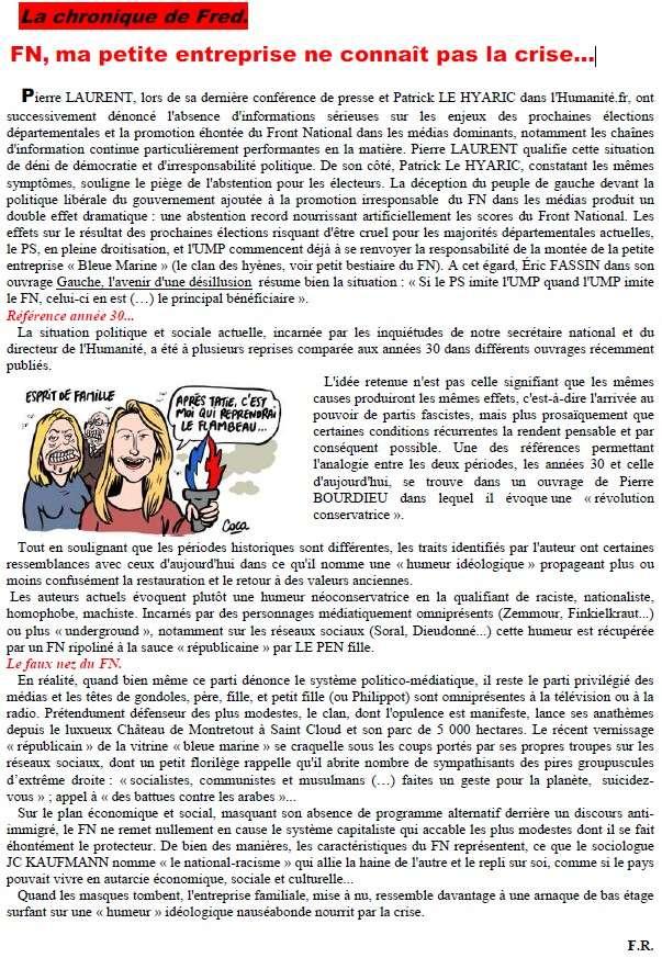 FN, ma petite entreprise ne connaît pas la crise… (L'Avenir de la Côte-d'Or) + Financement de campagnes du FN : un proche de Marine Le Pen mis en examen pour escroqueries (FrancetvInfo) +  Ma_pet10