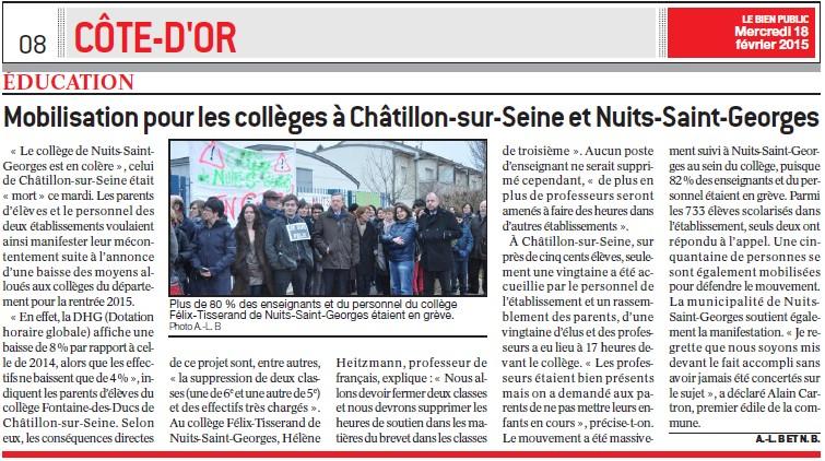 Mobilisation pour les collèges à Châtillon-sur-Seine et Nuits-Saint-Georges (Bien Public) Mobili10