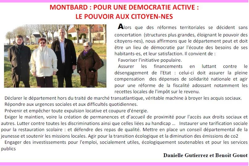 Élections départementales 2015 Montbard : Benoît Gouot et Danielle Gutierrez sont candidats + Profession de foi + Tract + Venarey-lès-Laumes : Un dialogue avec les citoyens (Bien Public) Pour_u11