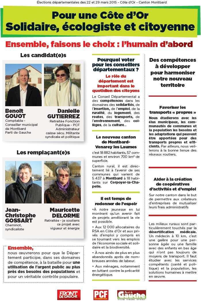 Élections départementales 2015 Montbard : Benoît Gouot et Danielle Gutierrez sont candidats + Profession de foi + Tract + Venarey-lès-Laumes : Un dialogue avec les citoyens (Bien Public) Recto_10