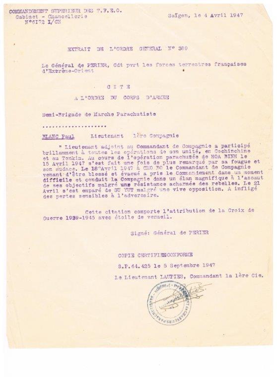 lieutenant paul blanc brevet 1132 mort au combat le 07/04/1948 a caobang 001_1013
