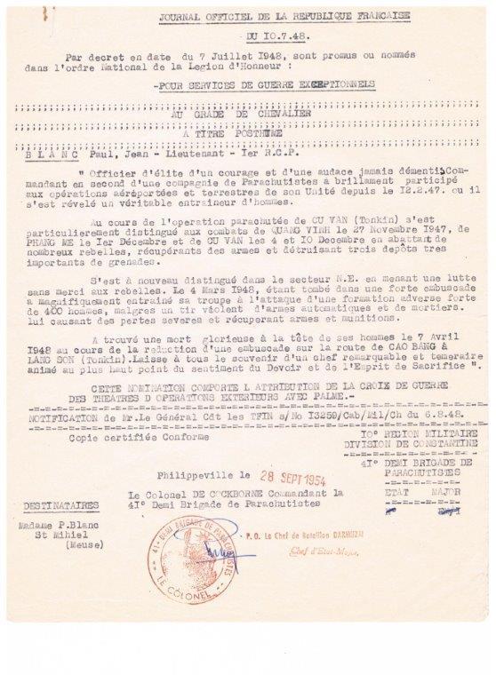 lieutenant paul blanc brevet 1132 mort au combat le 07/04/1948 a caobang 001_412
