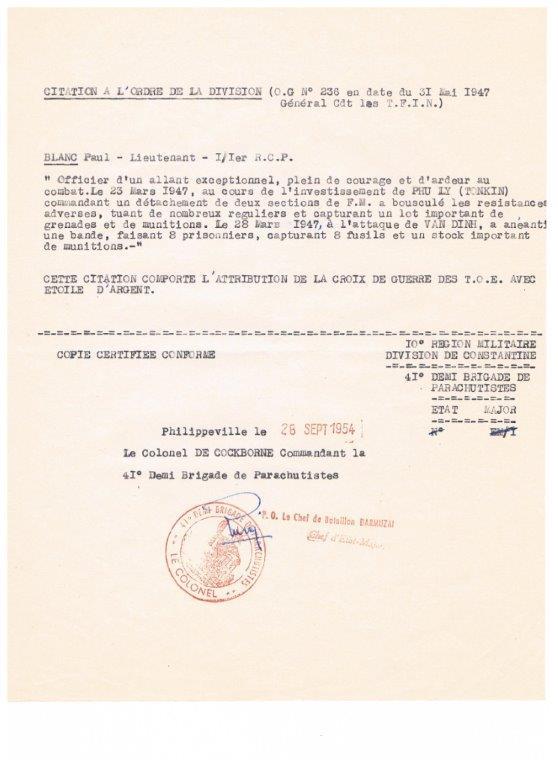 lieutenant paul blanc brevet 1132 mort au combat le 07/04/1948 a caobang 001_513