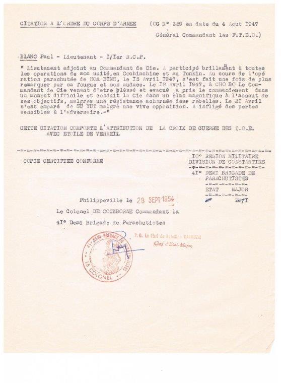 lieutenant paul blanc brevet 1132 mort au combat le 07/04/1948 a caobang 001_613
