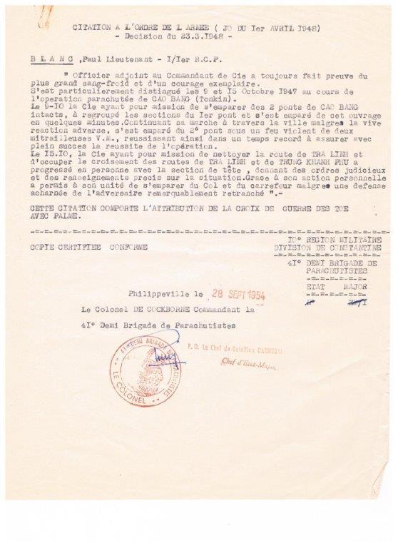 lieutenant paul blanc brevet 1132 mort au combat le 07/04/1948 a caobang 001_713