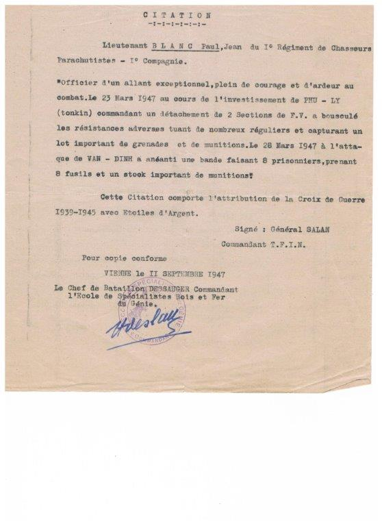 lieutenant paul blanc brevet 1132 mort au combat le 07/04/1948 a caobang 001_913