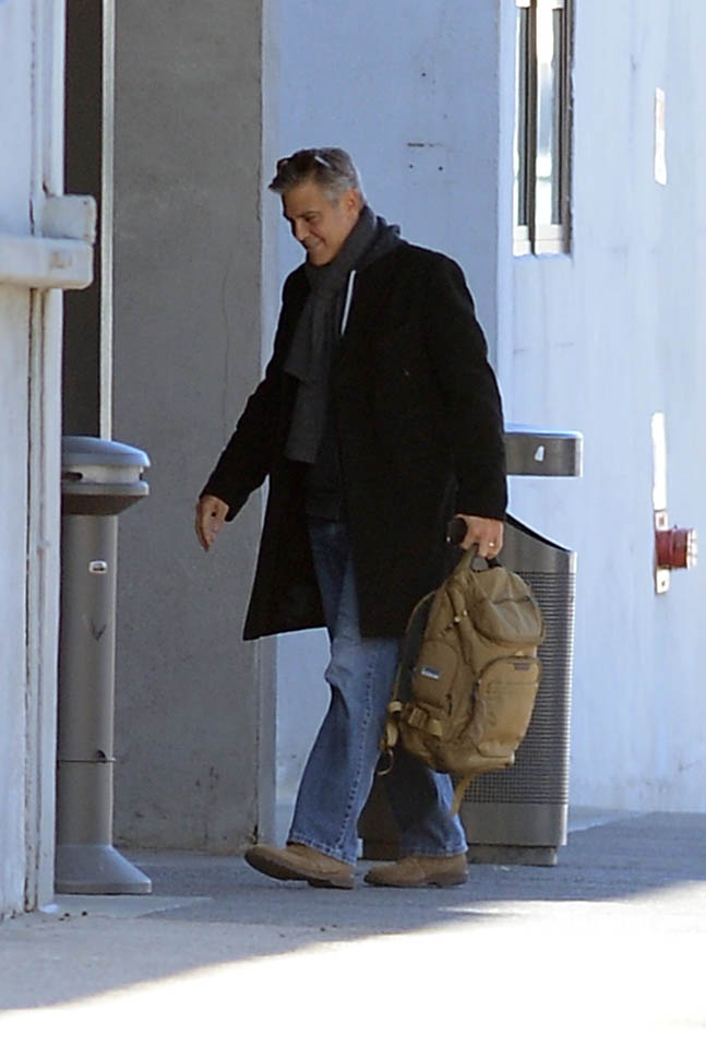 George Clooney arrives to set of Jodie Foster-directed movie Money Monster for his first day of filming Ba10