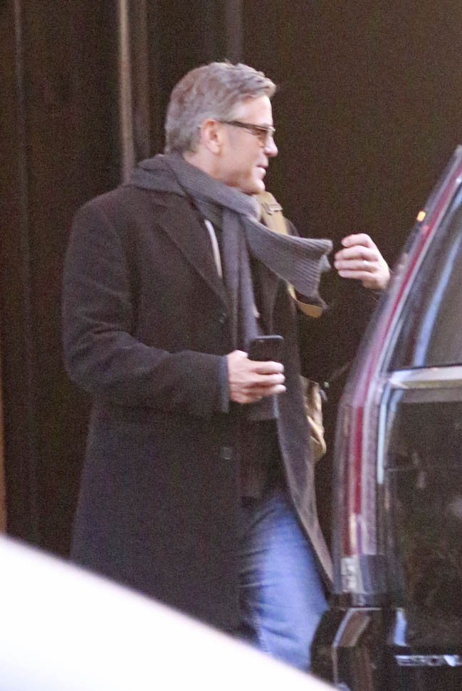 George Clooney arrives to set of Jodie Foster-directed movie Money Monster for his first day of filming Ba1110
