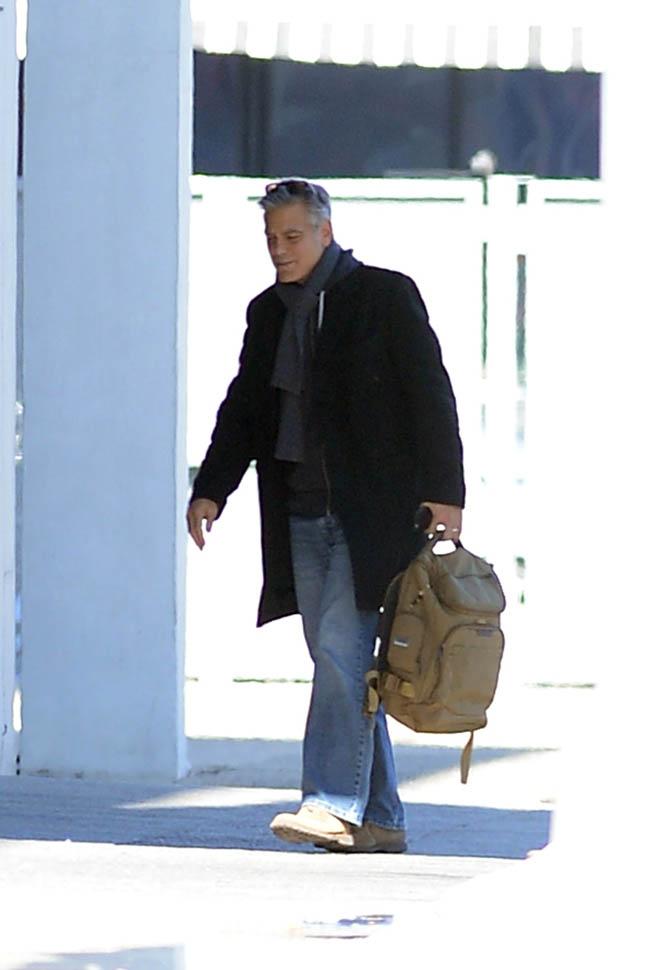 George Clooney arrives to set of Jodie Foster-directed movie Money Monster for his first day of filming Ba210