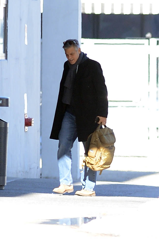 George Clooney arrives to set of Jodie Foster-directed movie Money Monster for his first day of filming Ba310