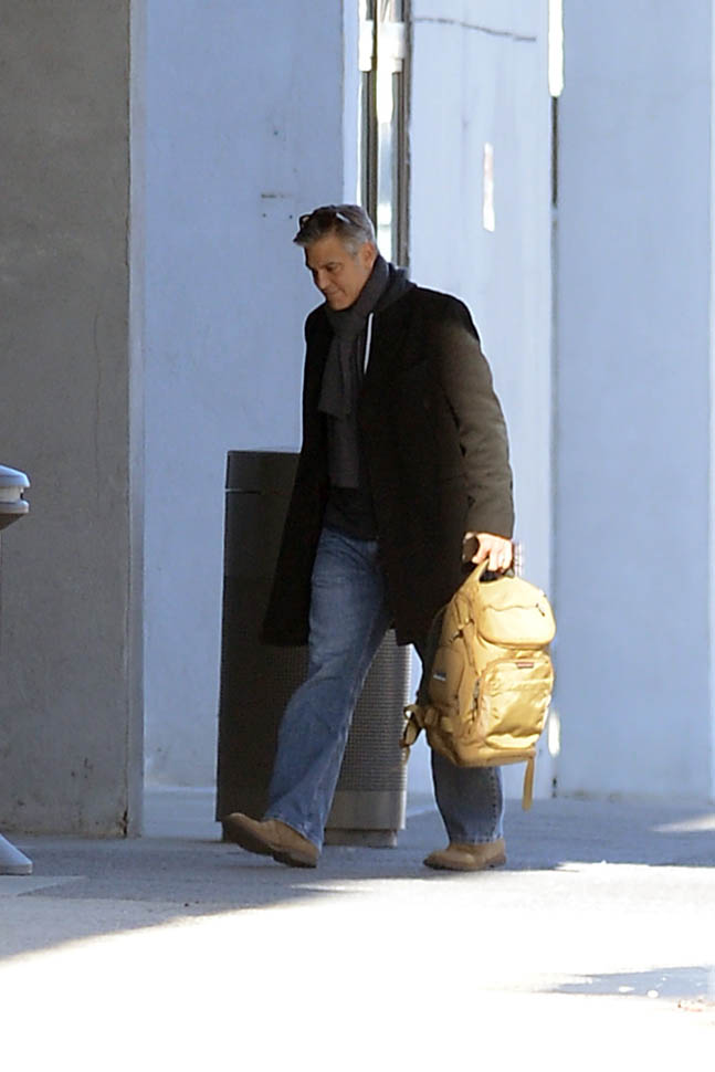 George Clooney arrives to set of Jodie Foster-directed movie Money Monster for his first day of filming Ba410