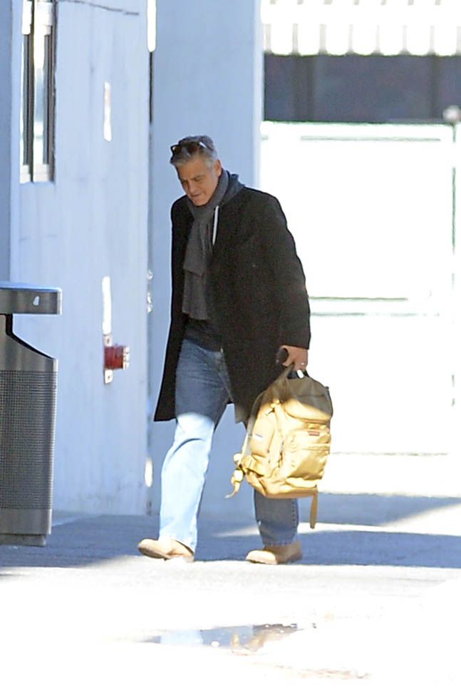 George Clooney arrives to set of Jodie Foster-directed movie Money Monster for his first day of filming Ba510