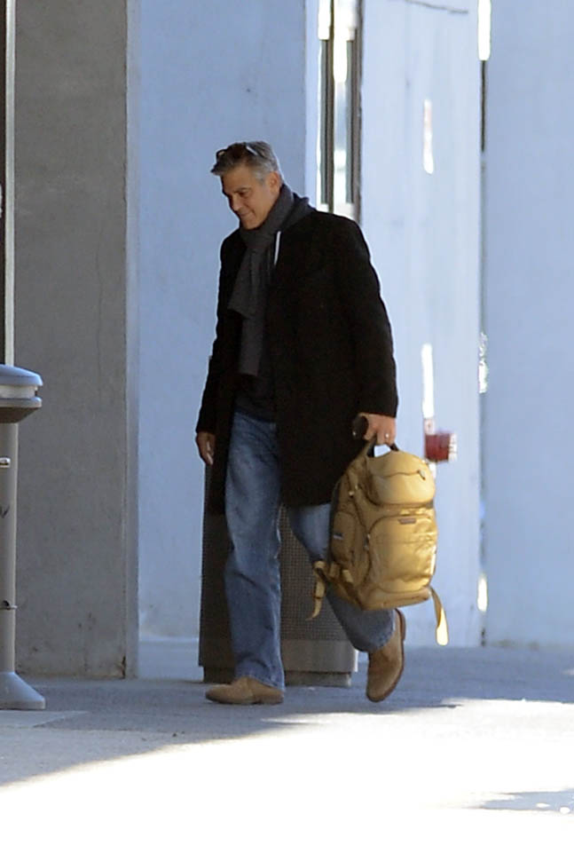 George Clooney arrives to set of Jodie Foster-directed movie Money Monster for his first day of filming Ba610