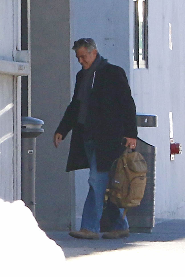 George Clooney arrives to set of Jodie Foster-directed movie Money Monster for his first day of filming Ba710