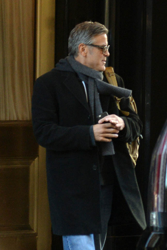 George Clooney arrives to set of Jodie Foster-directed movie Money Monster for his first day of filming Ba810
