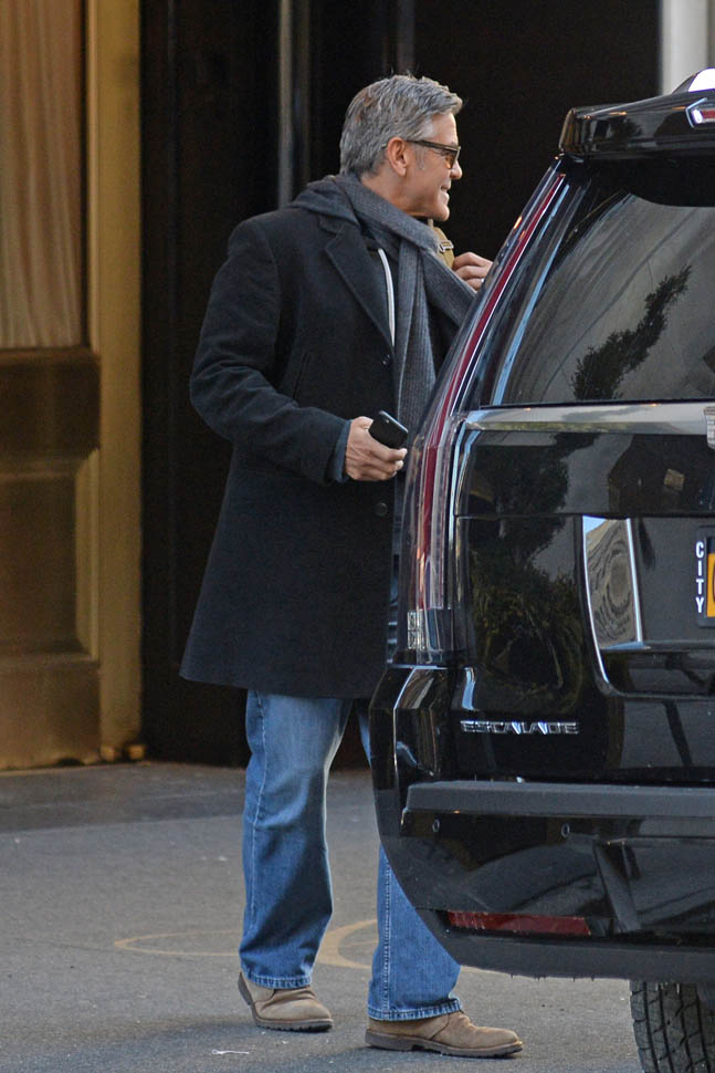 George Clooney arrives to set of Jodie Foster-directed movie Money Monster for his first day of filming Ba910
