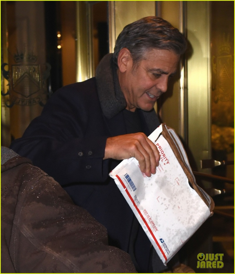 George Clooney exiting the Carlyle on Wednesday (March 4) in New York City. Ny210