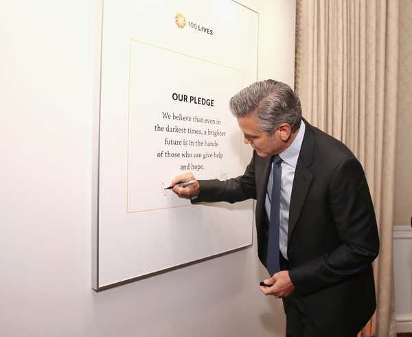 100 LIVES Event: George Clooney Joins Humanitarian Leaders to Launch Global Prize in NYC Sau610