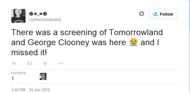 George at the screening of TOMORROWLAND on Sunday? Twit110