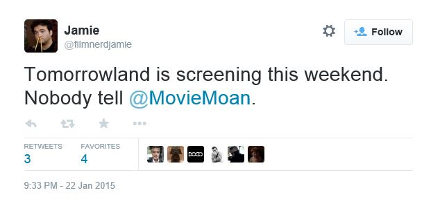 George at the screening of TOMORROWLAND on Sunday? Twit210