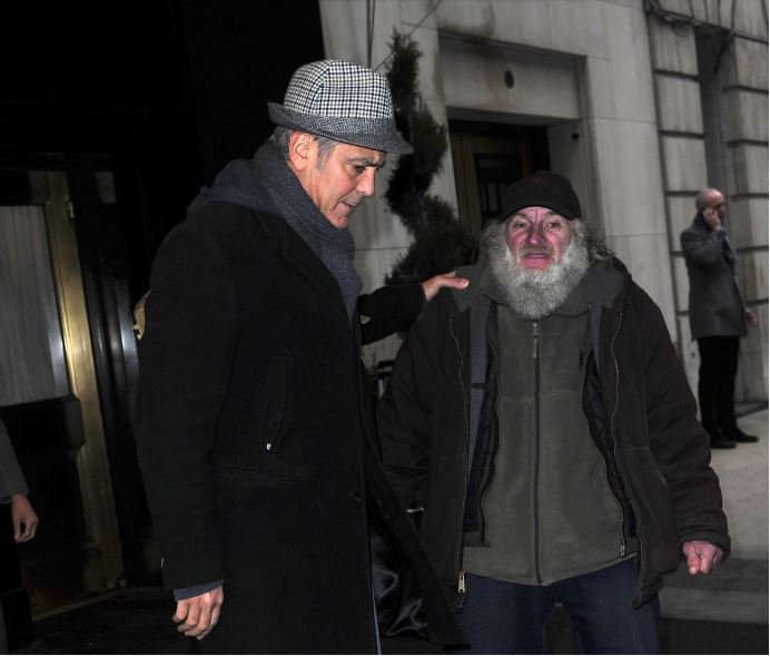 George Clooney exiting the Carlyle on Wednesday (March 4) in New York City. Zz10