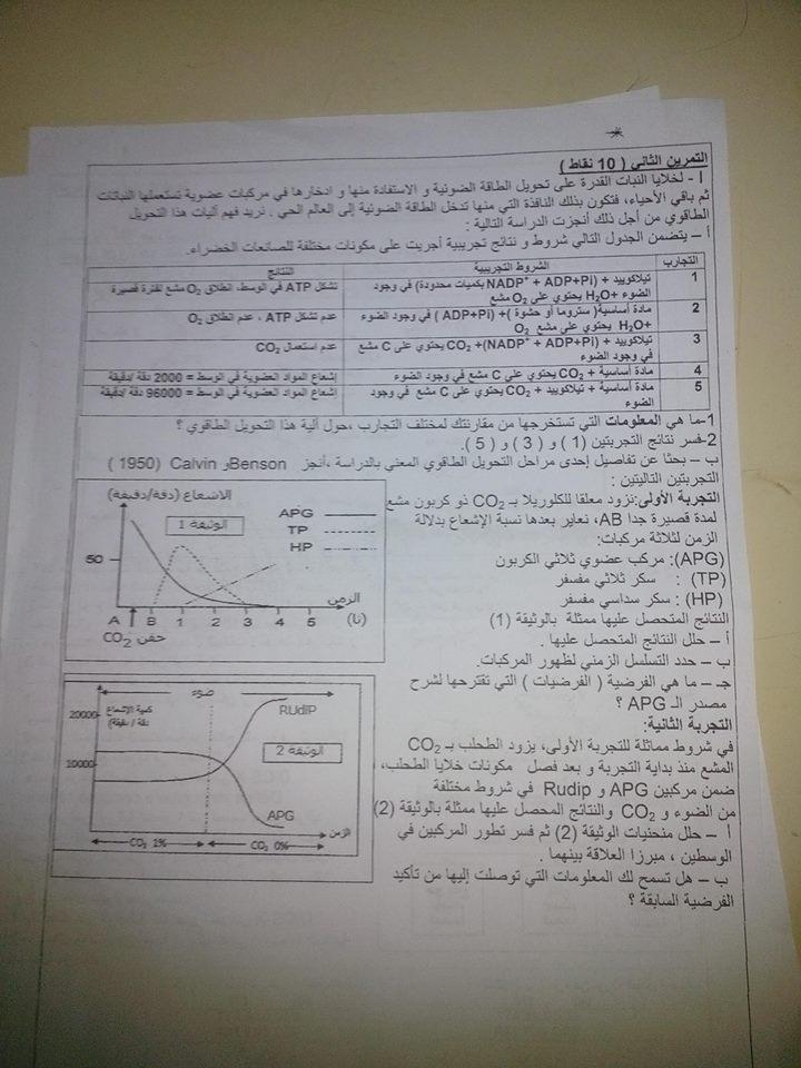 موضوع اختبار العلوم الطبيعية للفصل الثاني 10999510